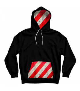 strip pattern pocket hoodie